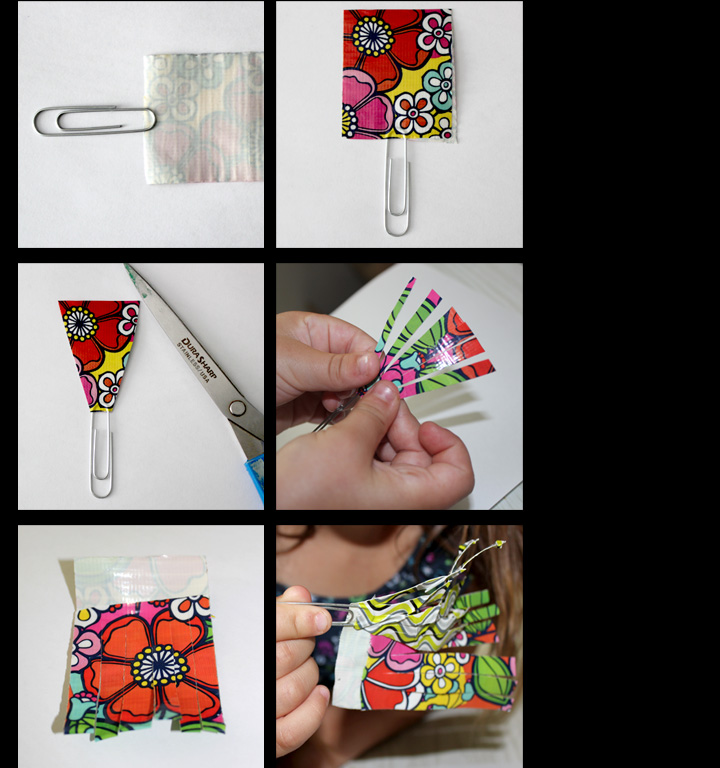 Duct tape bookmark paperclip steps craft create connect for Duct tape bookmark ideas