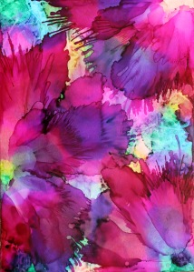 alcohol ink abstract flower vibrant art